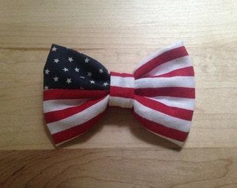 American Flag Hair Bow