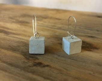 Concete Cube Dange Earrings made with marble dust