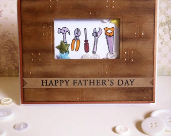 Father's Day Tool Shed Handmade Shaker Greeting Card