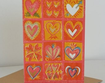 Colourful Hearts Card
