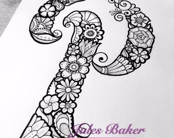 "Digital Coloring Page - Letter P from ""Letter Doodles"" Coloring Book"