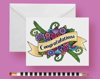 Congratulations Greeting Card 5.5 x 4.25 inches Blank Inside with Envelope