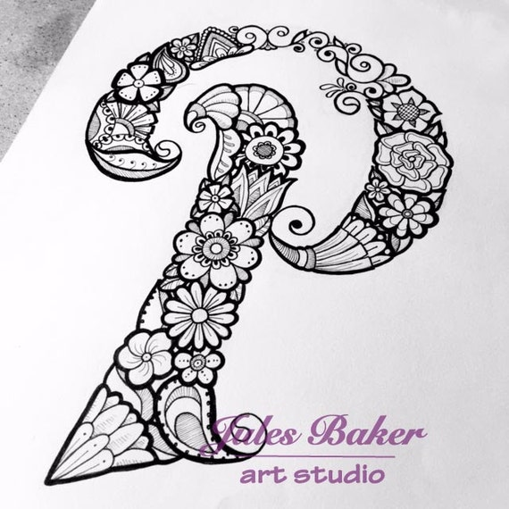 digital coloring page letter p from letter doodles coloring book