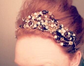 Autumn-hued bridal beaded headband tiara