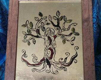 Tree Goddess Glass Painting Goddess Wall Art