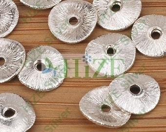 HIZE BB231 925 Bali Sterling Silver Wavy Disc Spacer Beads 7mm (32)