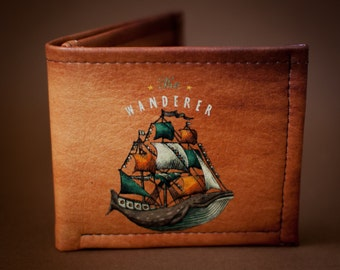 Wanderer - Wallet leather - Whale - Ship