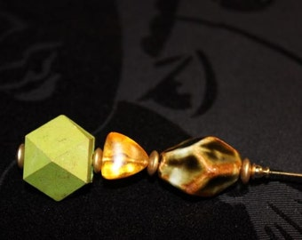 Greens and Golds Hat Pin