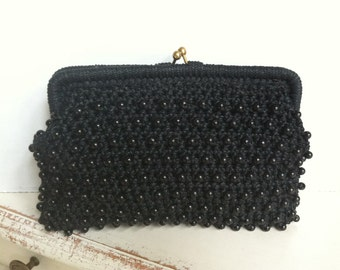 SALE! Vintage Clutch, Lord & Taylor, Black Beaded Macramé/Crochet, Made in Italy, Trendy!