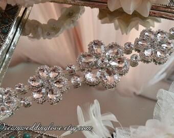 Acrylic Rhinestone applique, Crystal applique, bridal sash appliqu,  Sash Headband Supply,wedding DIY accessories,