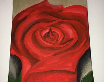 Red Rose acrylic painting on canvas by SASA expressions - Size 8x10x3/4