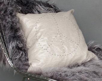 Beaded Peace Linen Cushions