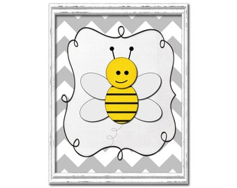 Wide gray chevron bumblebee nursery print