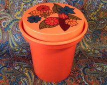 Funky Retro Kitchen Storage Container-Vintage Rubbermaid Kitchen Canister-1970's Bright Orange with Retro Flowers Kitchen Storage Canister