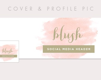 Pink Timeline Cover + Profile Picture 'Blush' Cover, Profile Picture, Branding, Web Banner, Blog Header