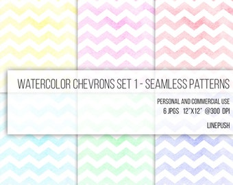 SALE! Seamless Watercolor Chevron Papers, Digital Paper, Background Wallpaper, Scrapbooking, Template, Party Paper, Clip Art, Seamless