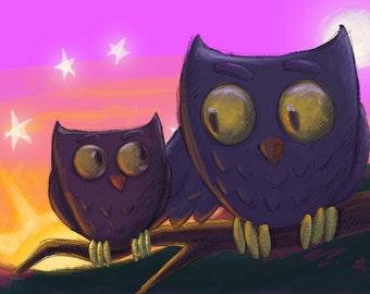 Facing the day. Owl Art Print