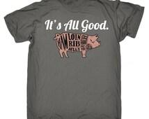 Pig Tshirt Bacon Unisex Loose Fit Tshirt Ribs Loin Ham Tee Bacon Tshirt Meat Pork Bacon Tee Food Hungry Eat Lunch T-Shirt Bruch Dinner Pig