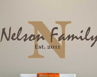 Family Name Monogram 01 - Two Color - Vinyl Wall Decal - Interior Decor