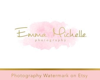 Instant Download Logo - DIY Pre-made Logo Design - Watercolor Logo - Watercolor watermark - Gold Logo Template - Photography Logo 81