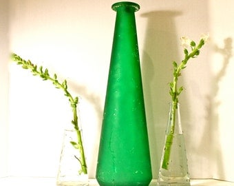 Large Spanish Bright Green Decanter / Vase / Made in Spain