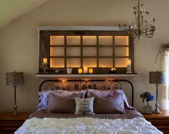 Romantic headboard/wall art with reading lights