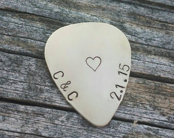 Personalized Guitar Pick, Hand Stamped Brass Metal Stamp