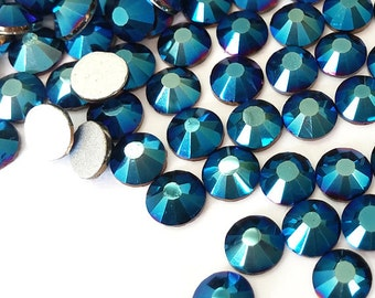 144pcs Bling High Quality Wholesale Pack Silver Back FlatBack Crystals Glass Rhinestones Gems Size ss6 ss8 ss10 ss12 ss16 ss20-Metallic Blue