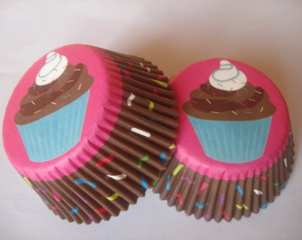 Chocolate Vanilla Cupcake Sprinkles Brown Sweet 50 Baking Liners Cupcake Party Bake Cake