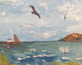 "Original oil painting, fine art impasto impressionism, ""Diving Bird"""