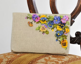 SOLD 'Pansies' Linen Cosmetic Bag *SOLD*
