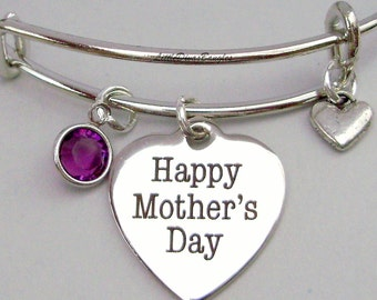 MOTHER'S DAY Adjustable  Bangle W/ Birthstone Crystal Drop w/ A Silver Tone Heart  / Gift For Her- Ysa F1