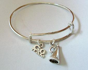 Cheerleader Megaphone  / Go Team  Adjustable Bangle Bracelet / Charm Bracelet / Stackable / Under Twenty /  Gift For Her- Sp1