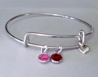 GIRLS SWAROVSKI Birthstones Crystal Charm BRACELET  / Bangle /  Under Twenty/ Bridal / Flower Girl / Gifts  / Made In Usa  BS1