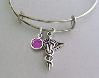 Adjustable Antique Silver Veterinarian Charm Bangle W/ Swarovski Birthstone Crystal Drop / Pet Care / Gift For Her / USA  V1