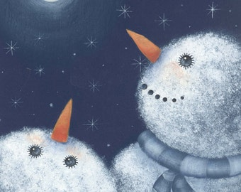 Snowman Print, Snowmen looking at moon Art Print