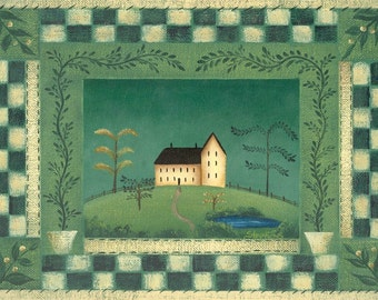 Primitive House Art Print, Folk Art Painting, Country Home on the Green, Primitive Decor, Country Art Print