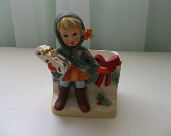 Vintage Napcoware Christmas Girl Planter Card Holder X-8370