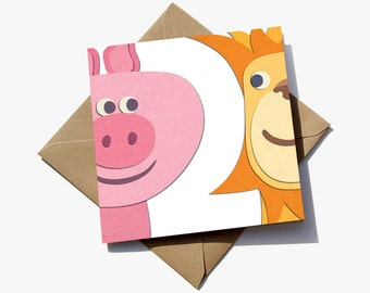 FREE delivery – 2nd birthday card for boy or girl, where the number is revealed in the negative space