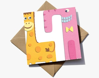 FREE delivery – 4th birthday card suitable for a girl, where the number is revealed in the negative space