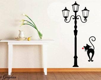 Street Lamp Light and Lovely Cat Living Room Decor Mural Vinyl DIY Wall Sticker