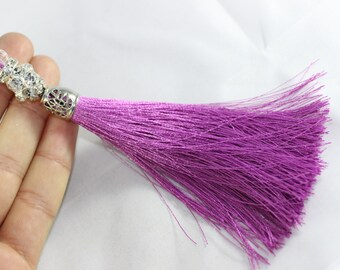 5 Pcs Violet Silky Thread Tassel, Beaded Tassel Necklace, 130 mm Tassel Pendants with Swarovski Stones