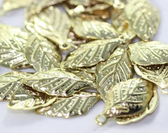50 Pcs Raw Brass Leaf Charms, Pendant , Raw Brass Relievo Leaves, Leaf Findings (10x21 mm) - KLP 020