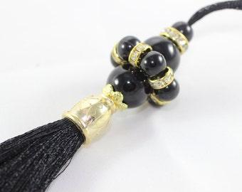 1 Pc Premium Quality Black Thread Tassel, Beaded Tassel, 150 mm with Rhinestones and Black Beads