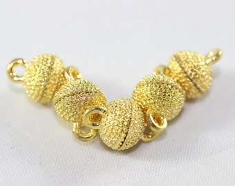 20 Sets Gold Tone Mini Magnetic Clasps, 9x14 mm Mini Ball Clasps, Round Strong Magnets, Dotted Clasps