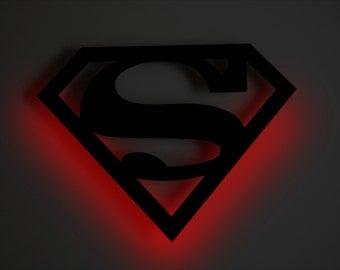 Superman - LED BACKLIT Floating Metal Wall Art