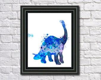 Brontosaurus Dinosaur Print Fine Art Children's Animal Wall Art Home Decor