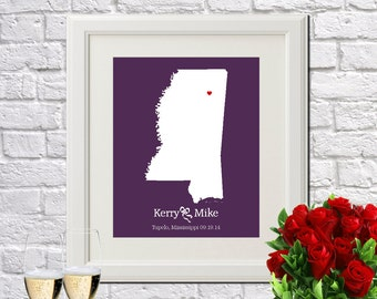 Wedding Gift Personalized Gift For Couples Newlywed Gift New Home Decor Wedding Anniversary MISSISSIPPI Wedding Gift - Any STATE