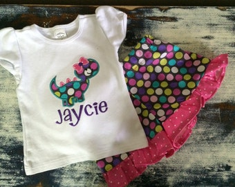 Girly dino shirt Personalized!