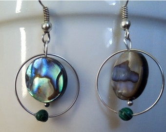 All earrings and abalone pendant